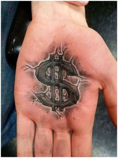 Tatuaje Dollar Sign Palm por Boo en Big Ink Tattoos and Piercing - Hand Tattoos, Unique Tattoos, Body Art Tattoos, New Tattoos, Sleeve Tattoos, Cool Tattoos, Tatto Design, Tattoo Design Drawings, Tattoo Card