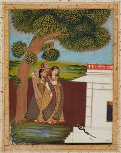 A possibly Rajasthani painting depicting three ladies underneath a tree by a pavillion, one of them with a staf, with a snake coiling around it. Colours and gold on paper. Late 19th century