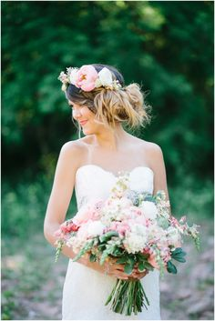 05_bride strapless lace wedding gown and floral crown