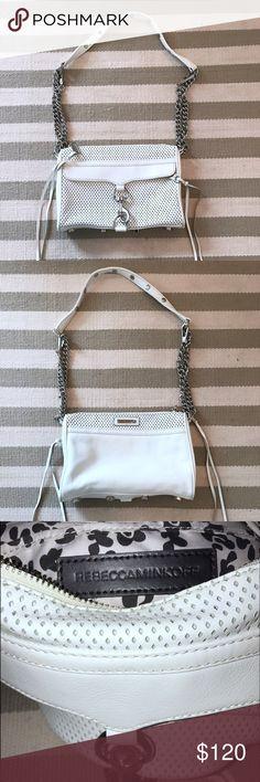"""White Rebecca Minkoff Mini M.A.C. Rebecca Minkoff - Slightly Used                                                  White Leather / Silver Adjustable Chain Strap                                                                        Mini M.A.C. Measurements: 9""""x6""""x2"""" Rebecca Minkoff Bags Crossbody Bags"""