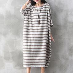 Women Striped Dress Plus Size Women Clothes 2017 Spring Casual Cotton Linen O-Neck Seven Sleeve Loose Vintage Loose Dresses 1L97