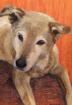 """Daily Paintworks - """"My Sisters Furbaby"""" - Original Fine Art for Sale - © Patti Hurst"""