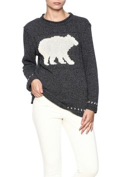 Cotton bulky bear sweater with a round neckline.    Cotton Bear Sweater by Cotton Country. Clothing - Sweaters - Crew & Scoop Neck Saratoga, Wyoming