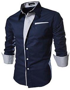 Camisa De los hombres A Rayas / Un Color Casual / Trabajo / Formal-Algodón-Manga Larga-Negro / Azul / Rojo / Blanco