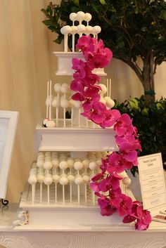 Cake Pop Wedding Cake with Orchids