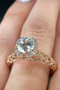 Engagement Rings : Picture Description 33 The Most Beautiful Gold Engagement Rings ❤️ gold engagement rings gold round halo diamondsbyraymondlee ❤️ See more: www.weddingforwar… #weddingforward #wedding #bride