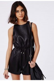 Leather Look Drawstring Playsuit Black