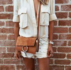2b23b6b13ee12 White Denim Shorts, a Silk Button-Down, and a Shoulder Bag. Chubby Cherries  · Chloe Faye ...