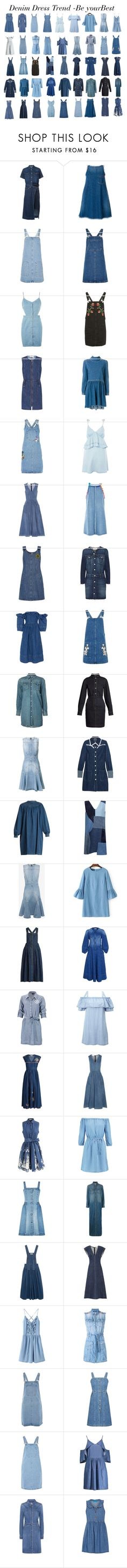 """Denim Dress trend"" by gabriela2105 ❤ liked on Polyvore featuring Sacai, Love Moschino, Topshop, See by Chloé, Erika Cavallini Semi-Couture, CO, Jaded, Miu Miu, AMO and Apiece Apart"