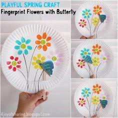 Fingerprint Flowers With Butterfly - Playful Spring Craft For Kids #kidscraft #springcrafts #easycrafts #funcrafts