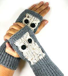 Knit Fingerless Gloves Knit Arm Warmers Fingerless Mittens Knit Hand Warmers Gauntlets Wrist Warmers Cream Fleck Snow Owl On Grey