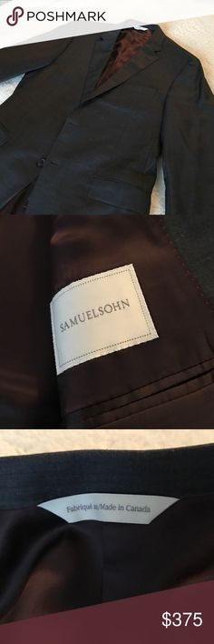 Sameuelsohn Charcoal Suit Designer Samuelsohn Suit barely worn. Excellent a night on the town, but equally appropriate for the office. A unique piece for any wardrobe, quality product Purchased from Nordstrom's. Tailored fit. 44R chest, approximately 33 pant. Flat front trousers, samuelsohn Suits & Blazers Suits
