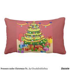 Presents under Christmas Tree Reversible Lumbar Pillow - pillows home decor diy cyo pillow design Custom Pillows, Decorative Pillows, Christmas Eve, Christmas Stuff, Home Gifts, Kids Gifts, Pillow Design, Lumbar Pillow, Presents