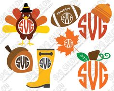 Thanksgiving Aztec Turkey Circle Monogram Custom DIY Cutting File Set in SVG, EPS, DXF, JPEG, and PNG Format