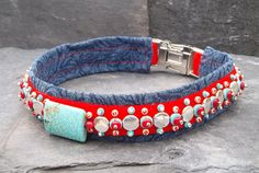 Items similar to Southwestern Luxury Dog Collar with Silver Turquoise and Glass Beads on Red Silk and Denim on Etsy Dog Belt, Luxury Dog Collars, Bead Sewing, Red Silk, Vintage Japanese, Glass Beads, Turquoise, Denim, Pets