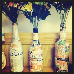 Recycled wine bottle art
