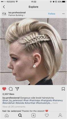 15 Cool and Easy Braids Hairstyles for Short Hair - Hair Prom Hairstyles For Short Hair, Side Braid Hairstyles, Braids For Short Hair, Short Hair Cuts, Cool Hairstyles, Pompadour Hairstyle, Loose Braids, Casual Hairstyles, Teenage Hairstyles
