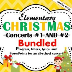 Elementary Christmas Concerts #1 and #2 (Winter Music Concerts) contain much of what you will need to put on two all-school elementary Christmas Concerts.   by Emily Conroy