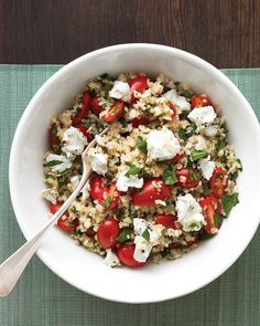 Reminiscent of tabbouleh, this hearty salad combines bulgur wheat with grape tomatoes, parsley, and tangy goat cheese.  Excellent at room temperature, this is a great choice for the picnic basket.