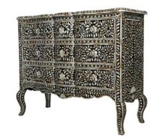 Surrealz Baroque style Bone Inlaid Sideboard Chest of Drawers in Black monochrome with floral, scroll pattern.  Also available in Mother of pearl inlay options and other colours.