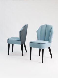 The Havana - our first non-metal chair with luxurious upholstery and a distinctive fan back rest. We love this powder blue colour too!