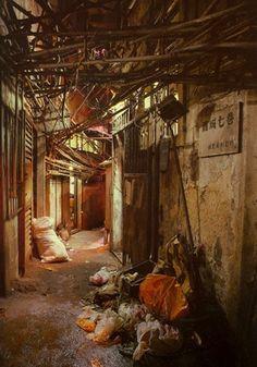 Musik meines Geistes manifestiert sich: Kowloon Walled City (Albtraum) Source by maroonloto Kowloon Walled City, Apocalypse Aesthetic, Bg Design, Sci Fi City, Alleyway, City Aesthetic, Aesthetic Green, Cyberpunk Art, Slums