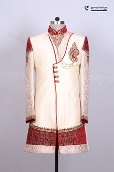 Are you looking for latest designs of sherwani for Groom? Introducing shervani designs online for weddings. Browse through our exclusive attire for Asian groom. Groomsmen Wedding Outfits, Wedding Dress Men, Wedding Wear, Wedding Suits, Indian Wedding Clothes For Men, Indian Wedding Outfits, Indian Groom Wear, Indian Wear, Manyavar Sherwani