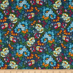 Anna Maria Horner Floral Retrospective Overachiever Mystery from @fabricdotcom  Designed by Anna Maria Horner for Free Spirit Fabrics, this cotton print collection features bohemian vibes and is perfect for quilting, apparel, and home decor accents. Colors include shades of blue, shades of green, golden mustard, carmine, and grey.
