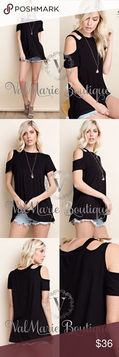 """QUICK SALE BAMBOO PREMIUM COLD SHOULDER TOP MADE IN USA!!! Fabric from premium bamboo! 94% viscose, 6% spandex. So soft. fits casually true to size. S(2-4) M(6-8) L(10-12)   26.5"""" long for small, 34"""" bust for small  27"""" long for medium, 36"""" bust for medium  27.5"""" long for large, 38"""" bust for large.   Stretches bigger. Price firm unless bundled. ValMarie Boutique Tops"""