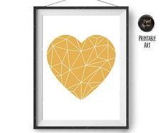 Yellow Heart Print, Geometric Love Heart, Nursery Art, Kids Room Art, Cute Print, Minimalist Art, Mustard Poster, Home Decor, Digital Art #kidsroomsdecorcute