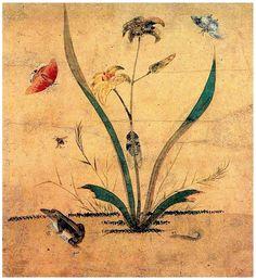 (Korea) 원추리와 개구리 by Lady Shin Saimdang (1504-1551). 34.0× 28.3cm. colors on paper. National Museum of Korea.