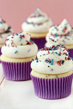 Delightfully sweet, fun, delicious Vanilla Bean Cupcakes. #vanilla #sprinkles #food #baking #cooking #dessert #cupcakes