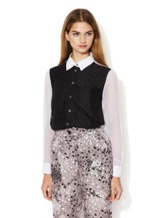 WORKWEEK CHIC - Maria Semi Sheer Lace Front Top (Timo Weiland)