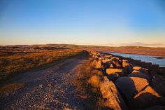 Hodbarrow, along the sea wall in the Duddon Estuary at sunset Places Ive Been, Country Roads, Sea, Sunset, World, Photography, The World, Sunsets, Photograph