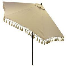 9' Round Umbrella with Fringe - Solid Tan - Black Pole - Threshold