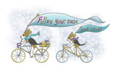 'Follow Your Nose ... and Heart' Beagles on Bicycles Art Print