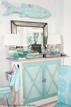 Beachy bar table! http://beachblissliving.com/tracey-rapisardis-pastel-beach-cottage-sarasota-fl/