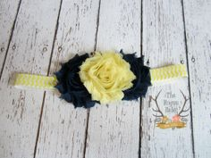 Yellow Navy Blue and White Chevron Headband by TheRogueBaby, $6.95