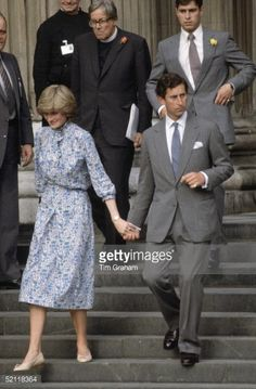 Prince Charles With Lady Diana Spencer Holding Hands As They Leave St Paul's After Wedding Rehearsal Behind Is Prince Andrew