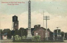 Sleepy Eye Minnesota MN 1909 Railroad Depot Chief Sleepy Eye Marker Postcard