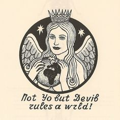 "The correct English text should read ""Satan, not God, rules the world!"" Satan is depicted as a woman holding the globe."