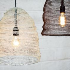 Metal Wire Mesh Pendant Light Lamp Shade - Oval - Industrial / Loft Style in Home, Furniture & DIY, Lighting, Lampshades & Lightshades Small Lamp Shades, Rustic Lamp Shades, Modern Lamp Shades, Painting Lamp Shades, Painting Lamps, Wire Pendant Light, Pendant Lighting, Wire Light Fixture, Light Fixtures