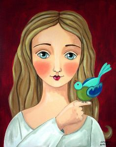 """Blonde Girl WIth Bluebird"" by Claudia Garcia"