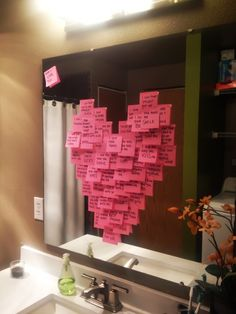 Love this idea! Form a heart out of post its with all the things you love about him or her, with a few quotes mixed in, and special moments you've shared.     #anniversary #love