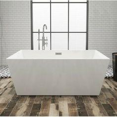 Kingston Brass Aqua Eden Square Acrylic x Freestanding Soaking Tub Deep Soaking Tub, Soaking Bathtubs, Tub To Shower Remodel, Shower Tub, Square Bathtub, Bathroom Renos, Master Bathroom, Bathroom Ideas, Master Shower