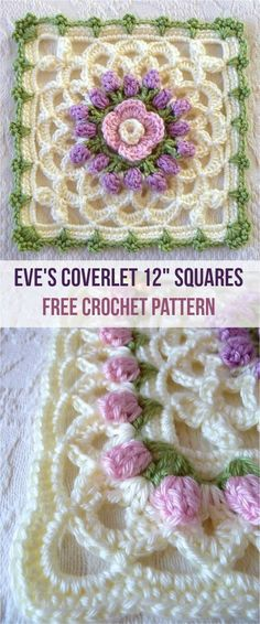 """Eve's Coverlet 12"""" Squares Crochet Afghan - Free Pattern 