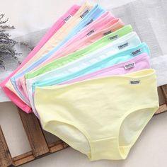 16bbc710de 10Pcs Solid Sexy Women s Cotton Blend Panties Briefs Lingerie Shorts  Underwear Thongs Knickers For Women Ladies Girls