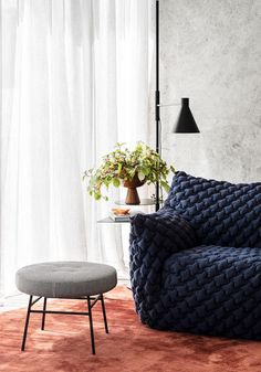An ultra-modern family home in Brighton softened with colour | Belle Modern Family, Home And Family, Timber Battens, Brighton Houses, Edwardian House, Island Bench, Light Well, Low Stool, Australian Homes