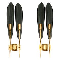 In the Style of Fontana Arte, Glass & Brass Sconces, 1950s.