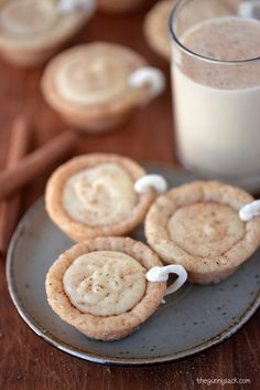 Adorable Eggnog Cookie Cups filled with eggnog ganache. This cookie recipe is perfect for Christmas!